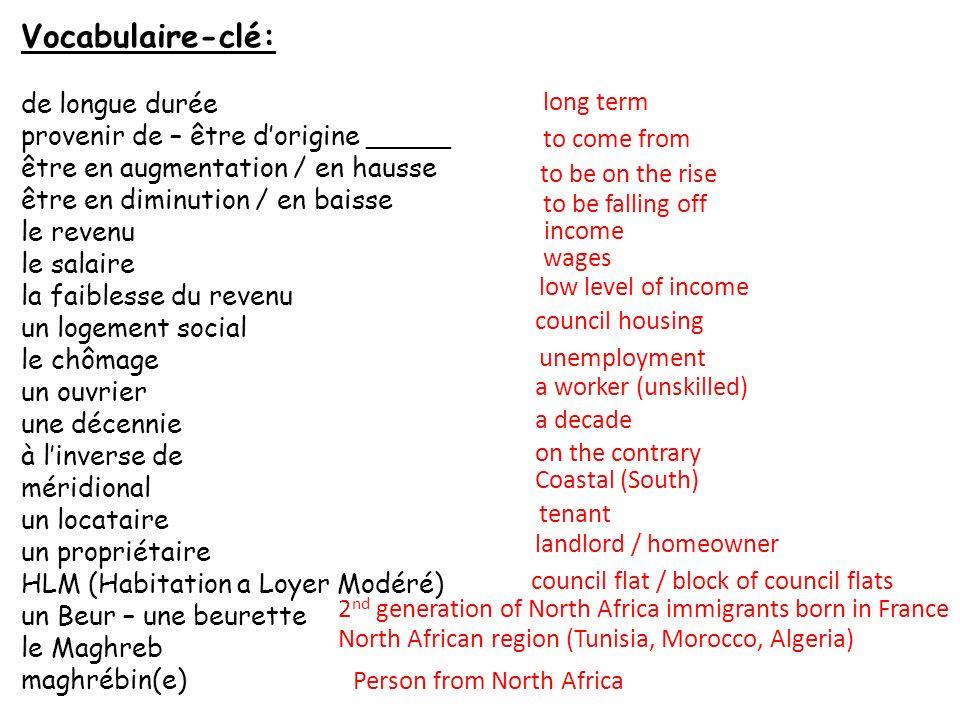 Vocabulaire-clé: de longue durée provenir de – être d'origine _____
