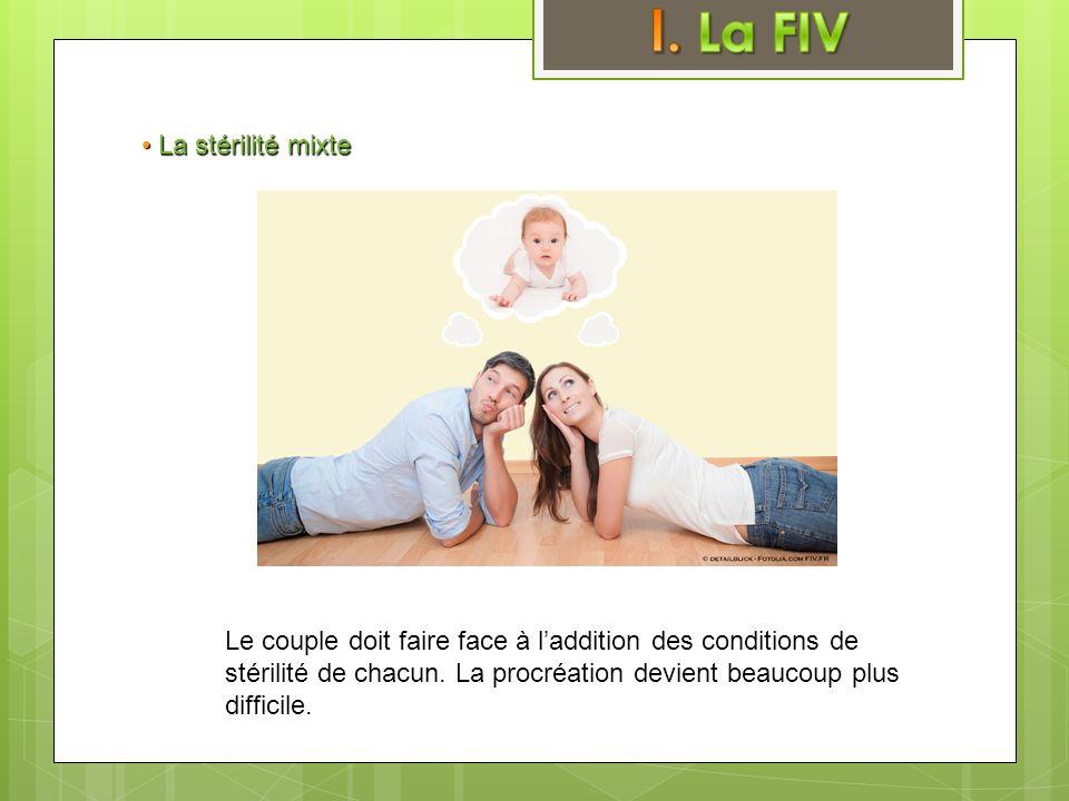 • La stérilité mixte Le couple doit faire face à l'addition des conditions de stérilité de chacun.