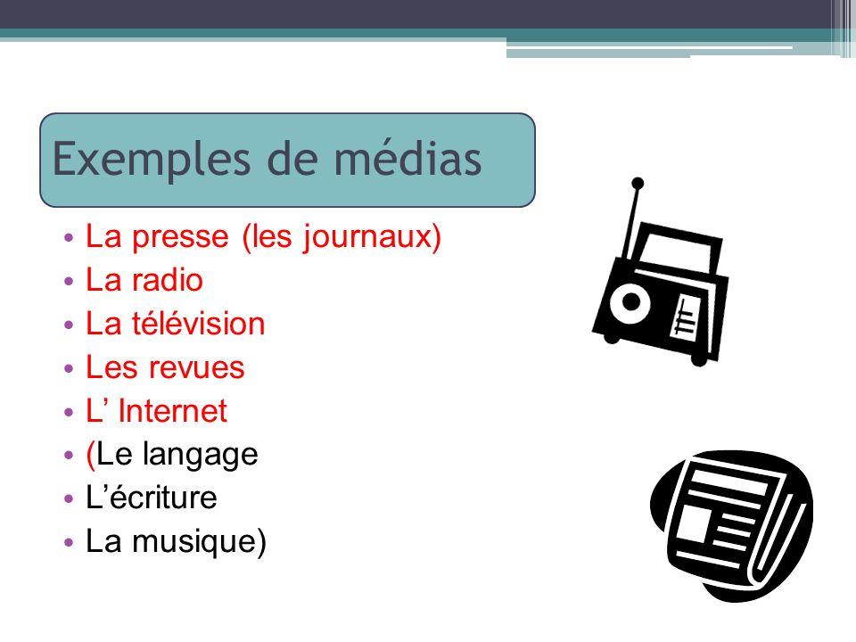 Exemples de médias La presse (les journaux) La radio La télévision