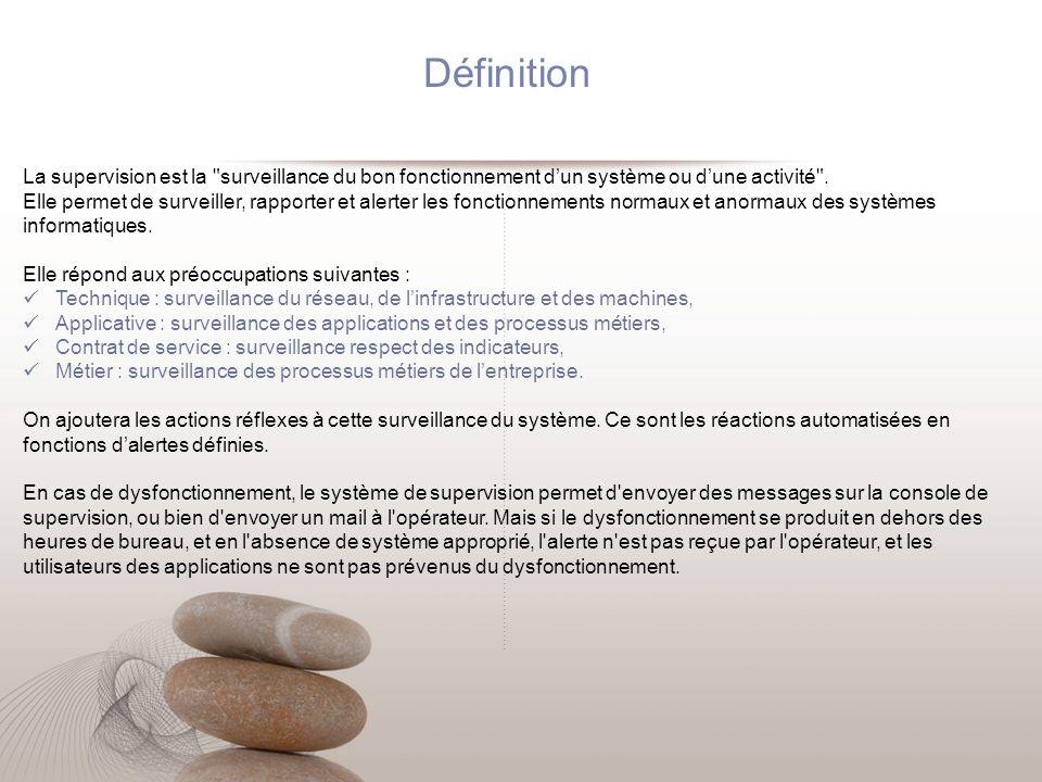 Définition La supervision est la surveillance du bon fonctionnement d'un système ou d'une activité .
