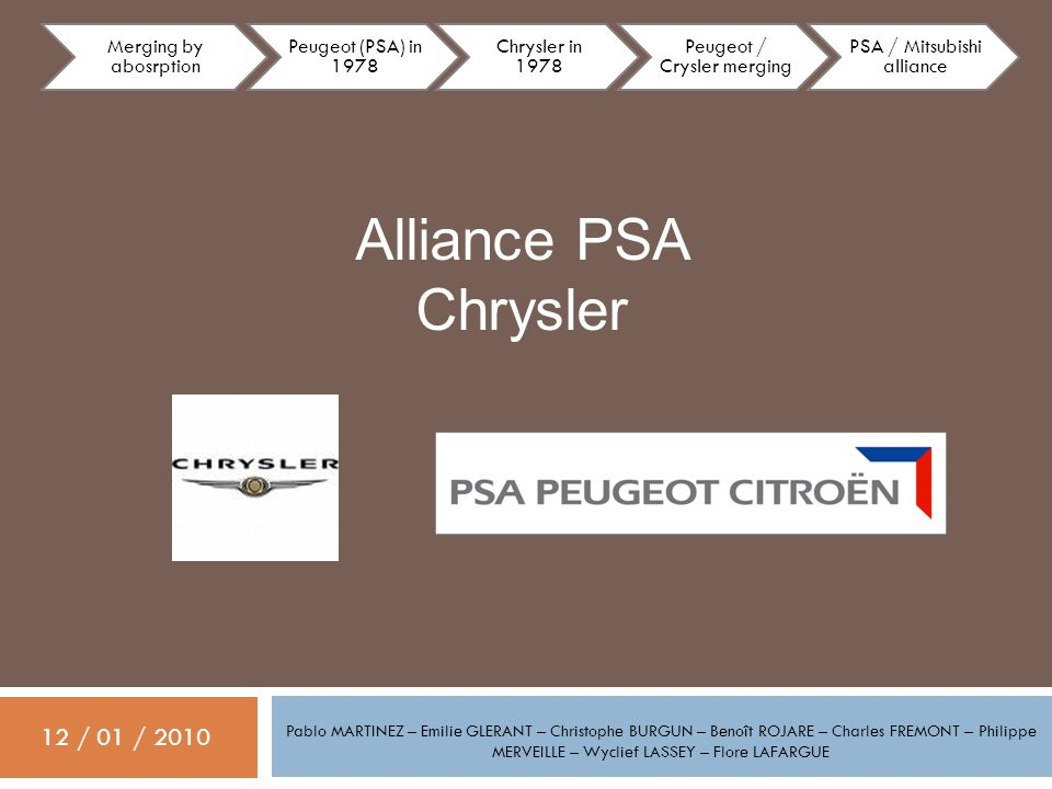 Alliance PSA Chrysler 12 / 01 / 2010 Merging by abosrption