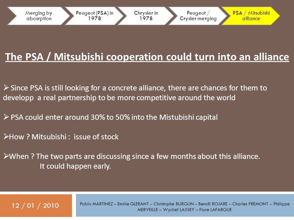 The PSA / Mitsubishi cooperation could turn into an alliance