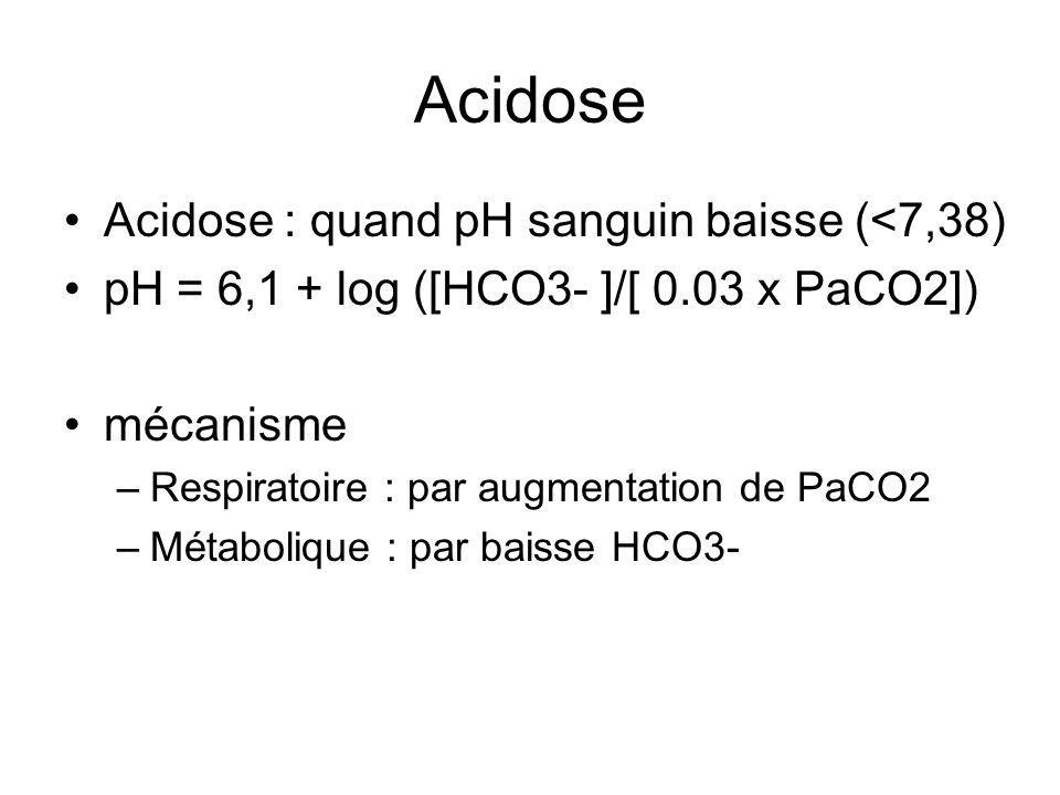 Acidose Acidose : quand pH sanguin baisse (<7,38)