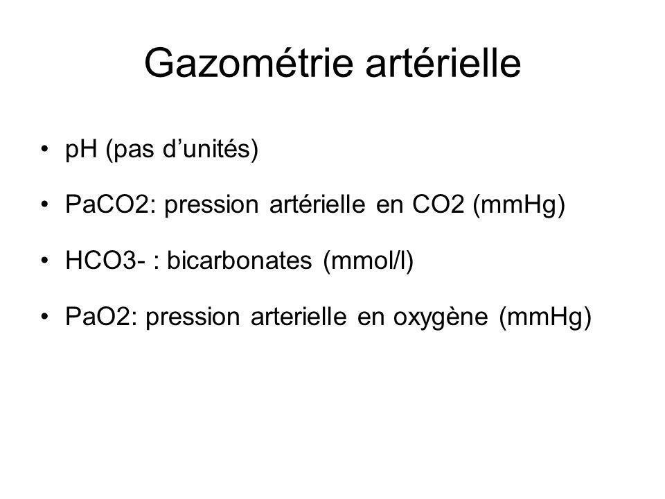 Gazométrie artérielle