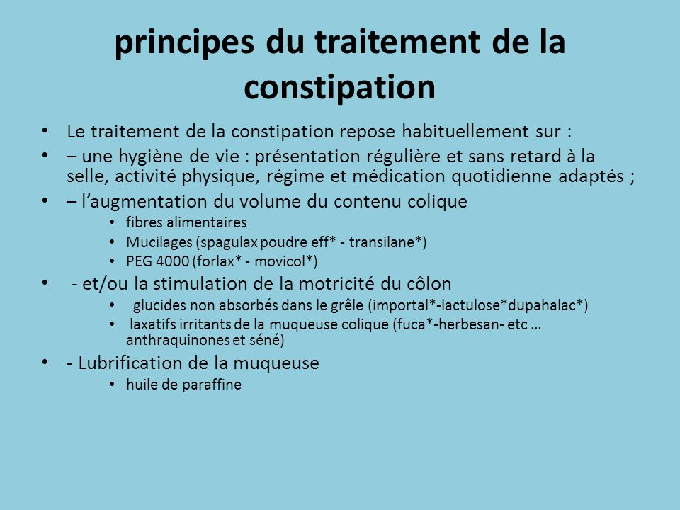 principes du traitement de la constipation