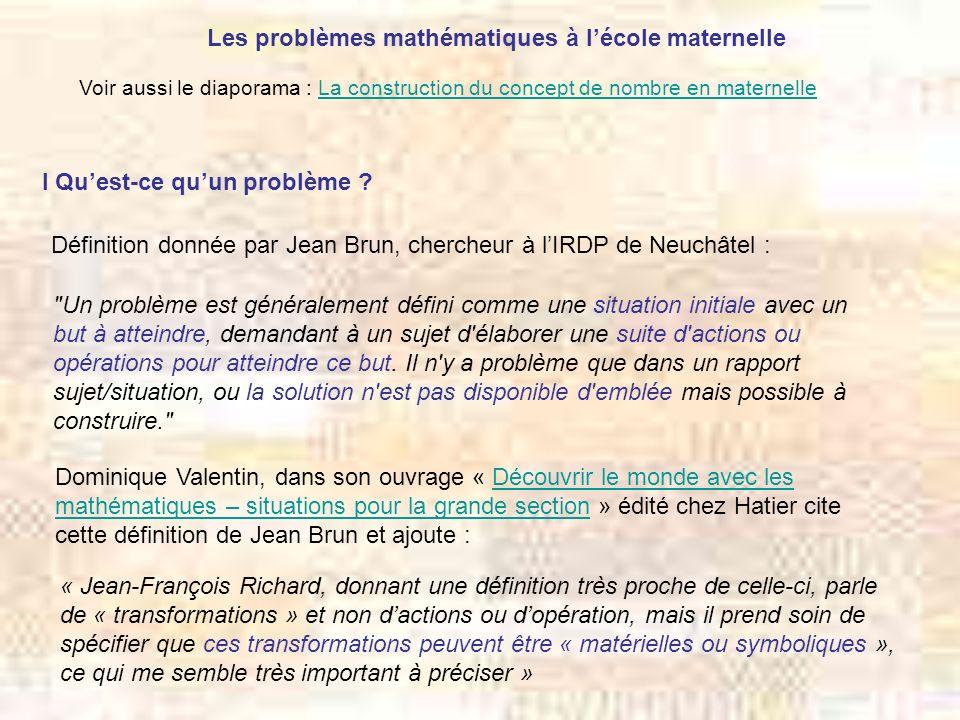 Les problèmes mathématiques à l'école maternelle