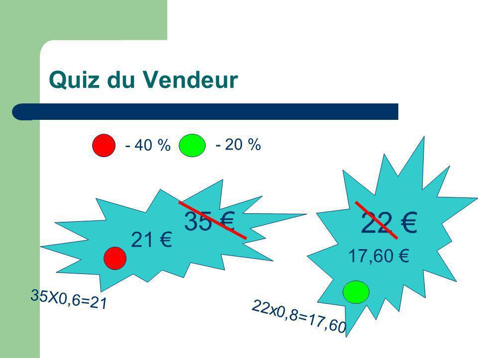 22 € 35 € Quiz du Vendeur 21 € 17,60 € - 40 % - 20 % 35X0,6=21