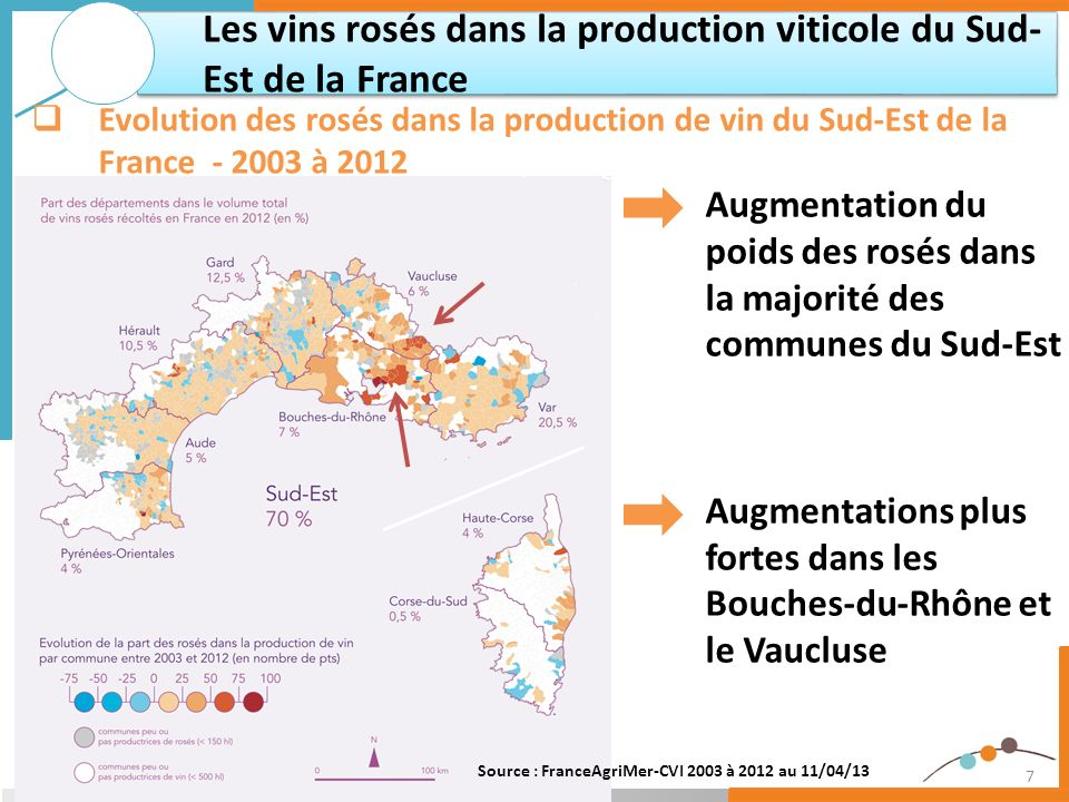 Les vins rosés dans la production viticole du Sud-Est de la France