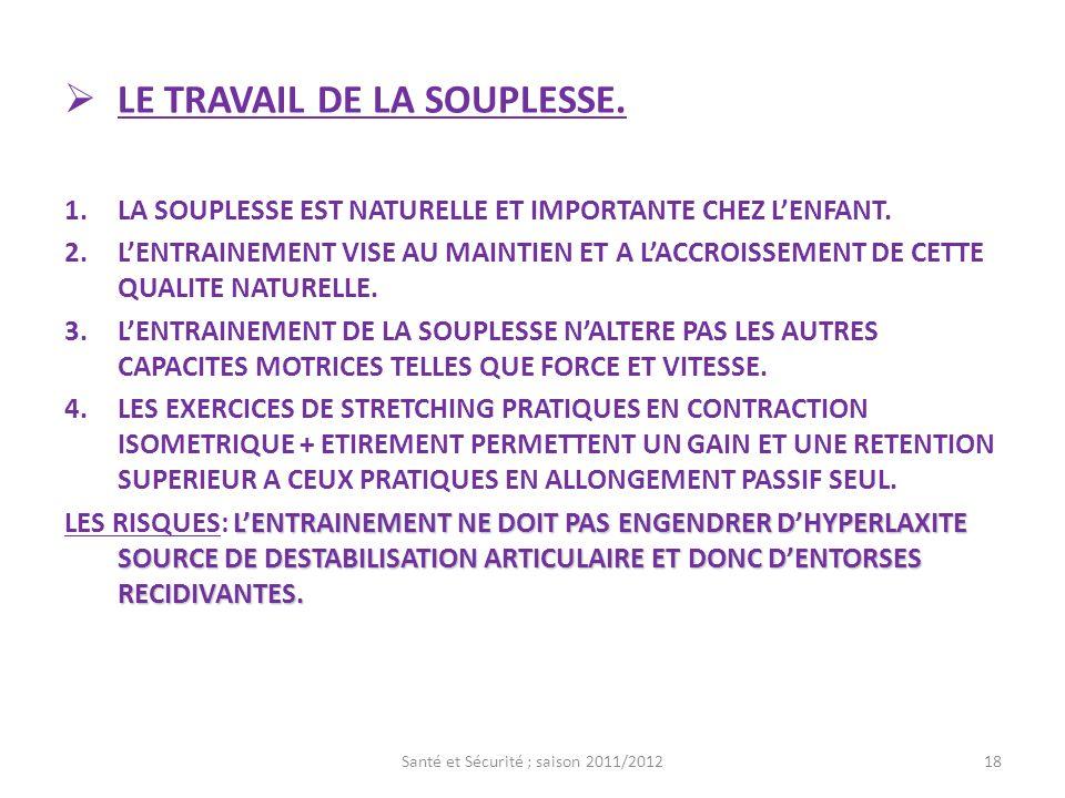 LE TRAVAIL DE LA SOUPLESSE.