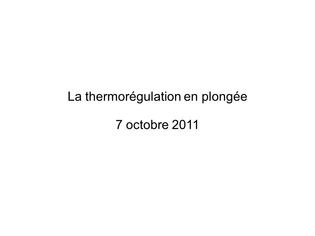 La thermorégulation en plongée
