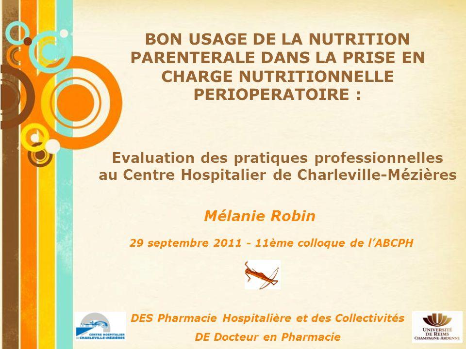 BON USAGE DE LA NUTRITION PARENTERALE DANS LA PRISE EN