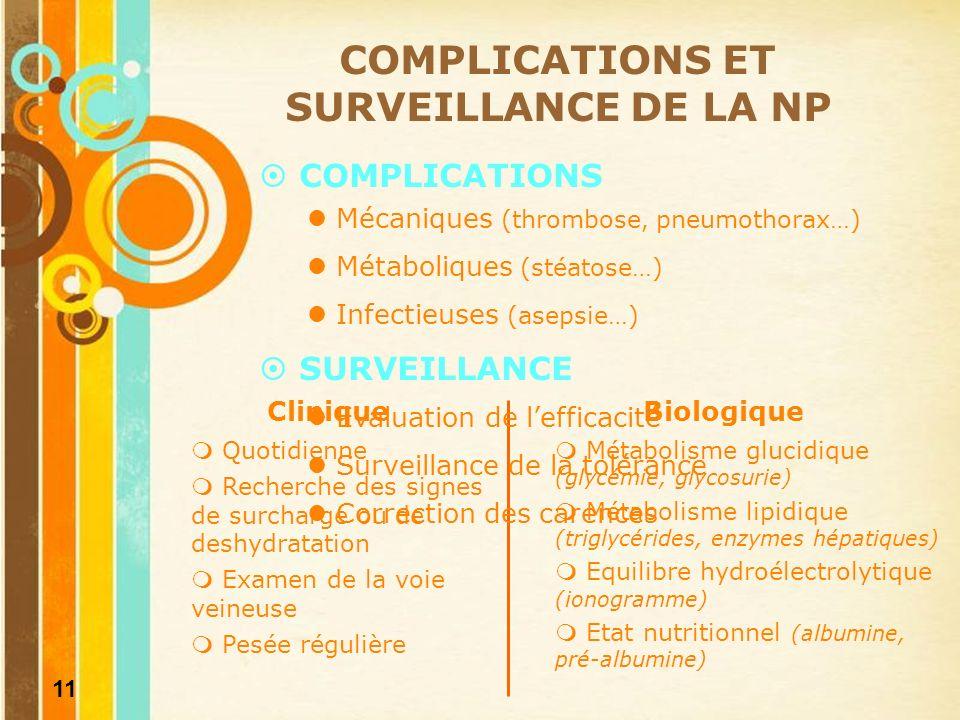 COMPLICATIONS ET SURVEILLANCE DE LA NP