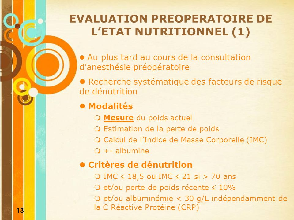 EVALUATION PREOPERATOIRE DE L'ETAT NUTRITIONNEL (1)