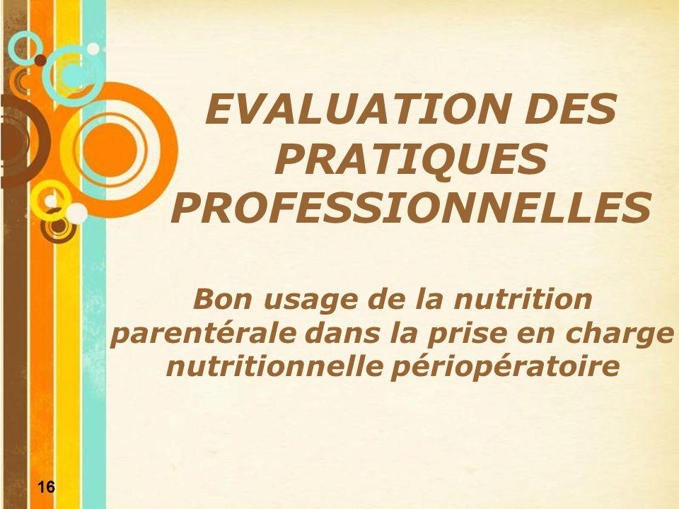 EVALUATION DES PRATIQUES PROFESSIONNELLES
