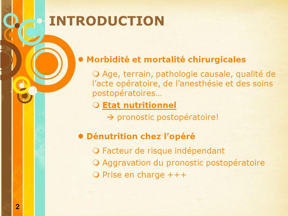 INTRODUCTION Morbidité et mortalité chirurgicales