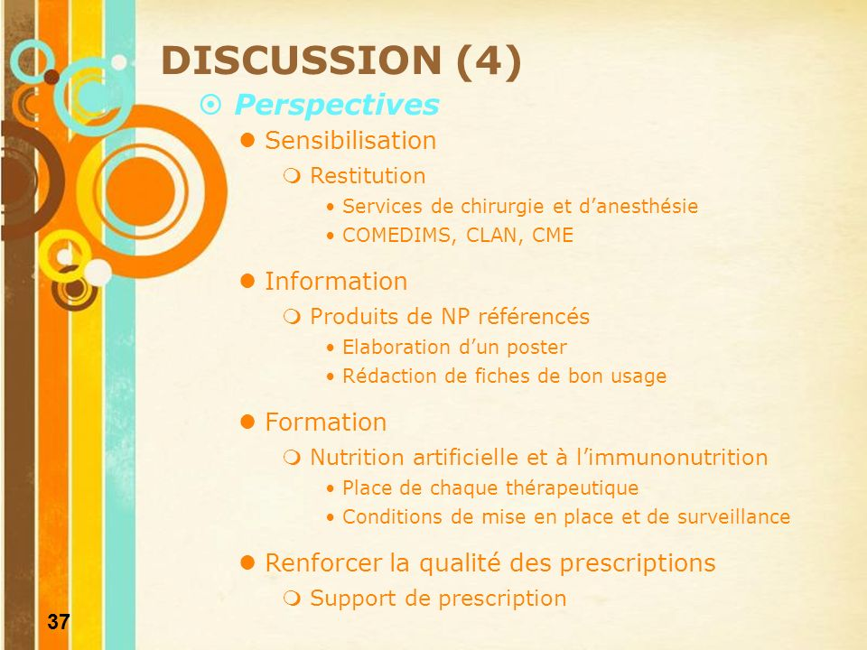 DISCUSSION (4) Perspectives Sensibilisation Information Formation