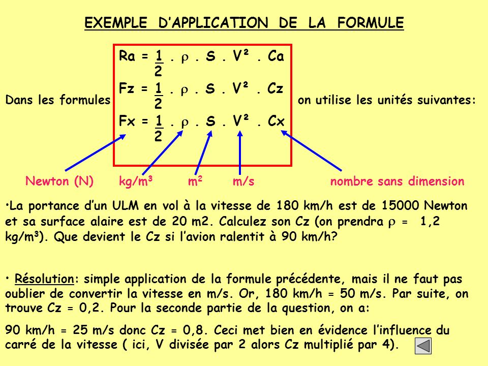 EXEMPLE D'APPLICATION DE LA FORMULE