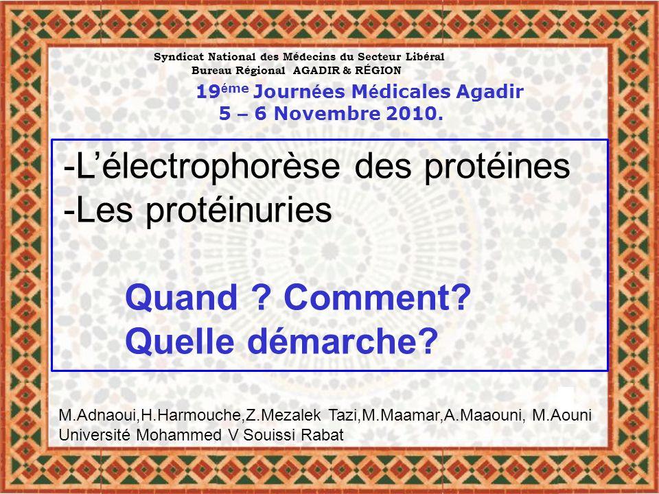 -L'électrophorèse des protéines -Les protéinuries Quand Comment