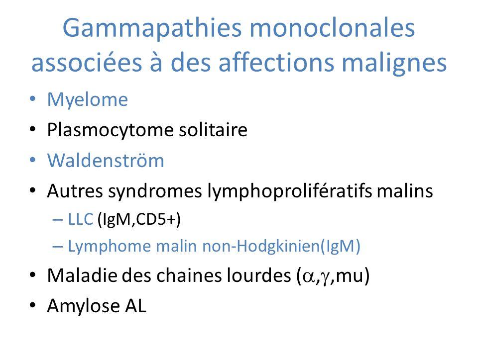 Gammapathies monoclonales associées à des affections malignes