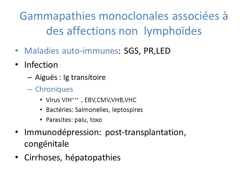 Gammapathies monoclonales associées à des affections non lymphoïdes