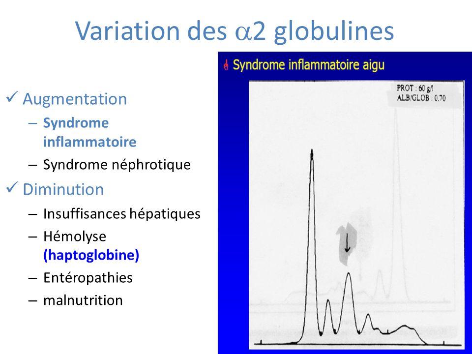 Variation des 2 globulines