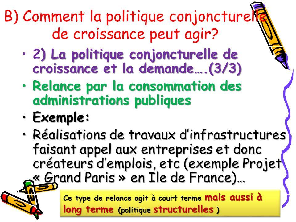 B) Comment la politique conjoncturelle de croissance peut agir