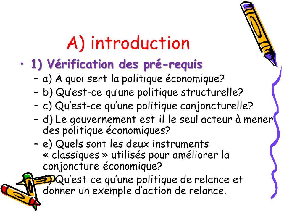 A) introduction 1) Vérification des pré-requis