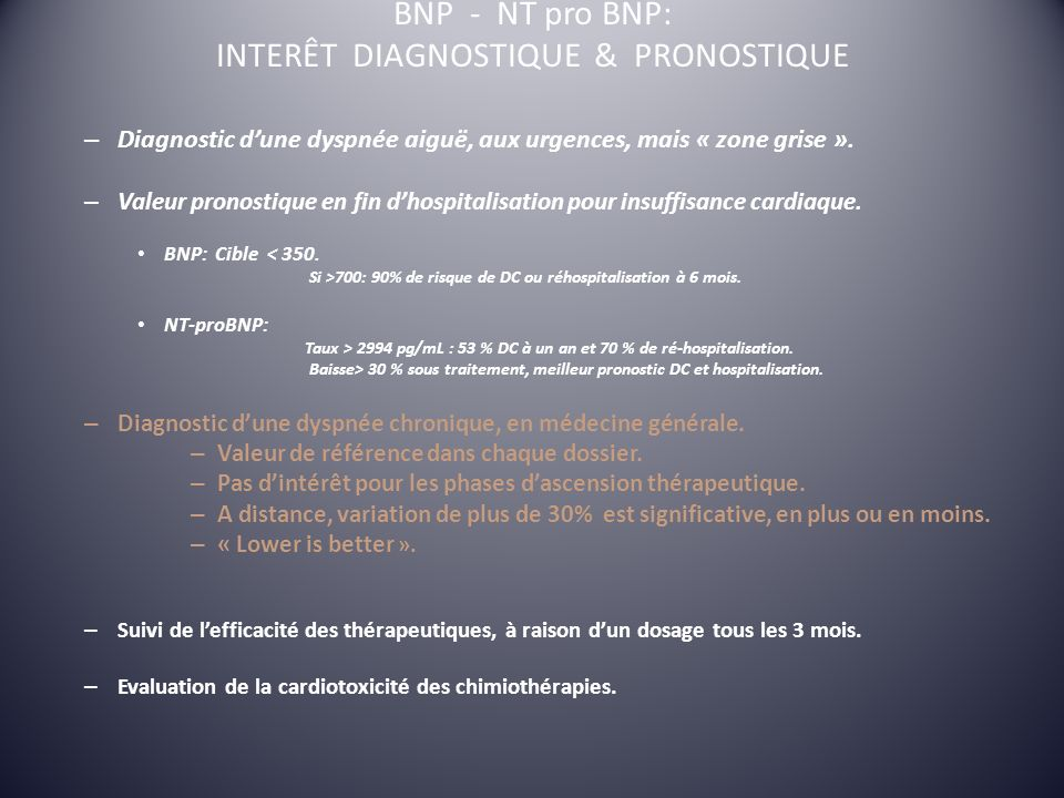 BNP - NT pro BNP: INTERÊT DIAGNOSTIQUE & PRONOSTIQUE