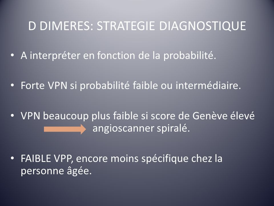 D DIMERES: STRATEGIE DIAGNOSTIQUE