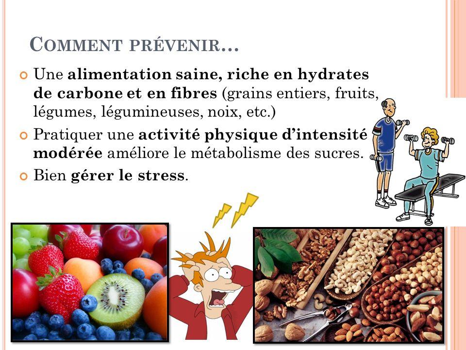 Comment prévenir… Une alimentation saine, riche en hydrates de carbone et en fibres (grains entiers, fruits, légumes, légumineuses, noix, etc.)