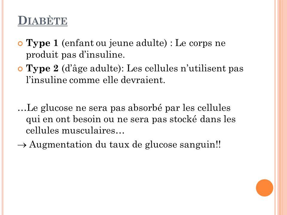Diabète Type 1 (enfant ou jeune adulte) : Le corps ne produit pas d'insuline.