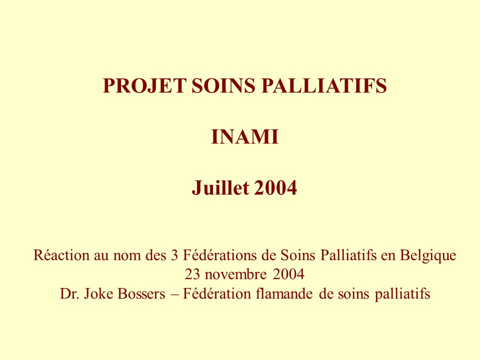PROJET SOINS PALLIATIFS