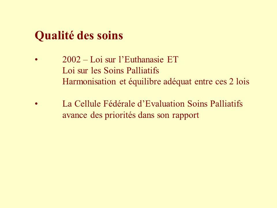 Qualité des soins 2002 – Loi sur l'Euthanasie ET