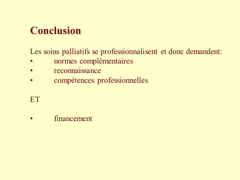 Conclusion Les soins palliatifs se professionnalisent et donc demandent: normes complémentaires. reconnaissance.