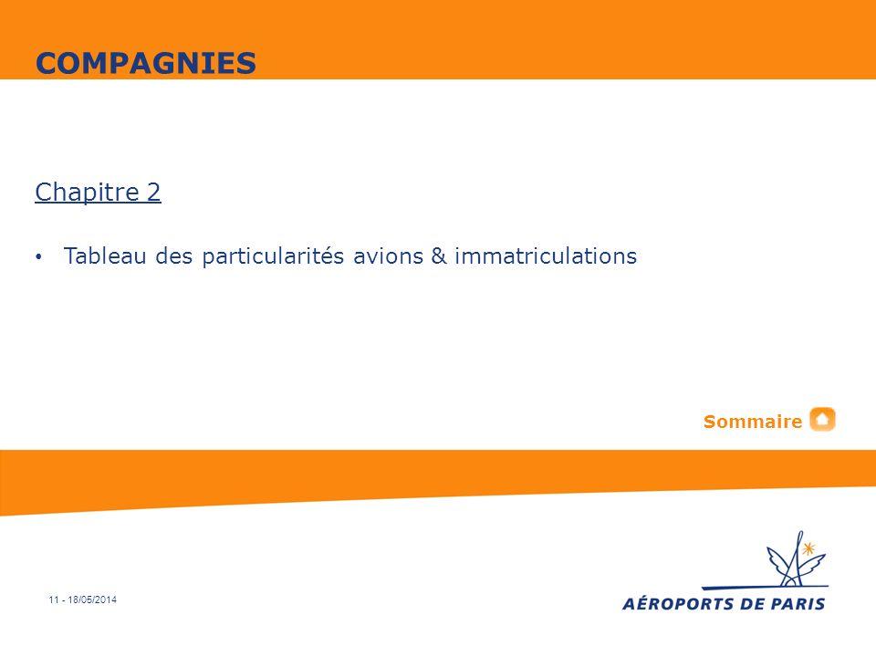 COMPAGNIES Chapitre 2 Tableau des particularités avions & immatriculations Sommaire 11 - 31/03/2017