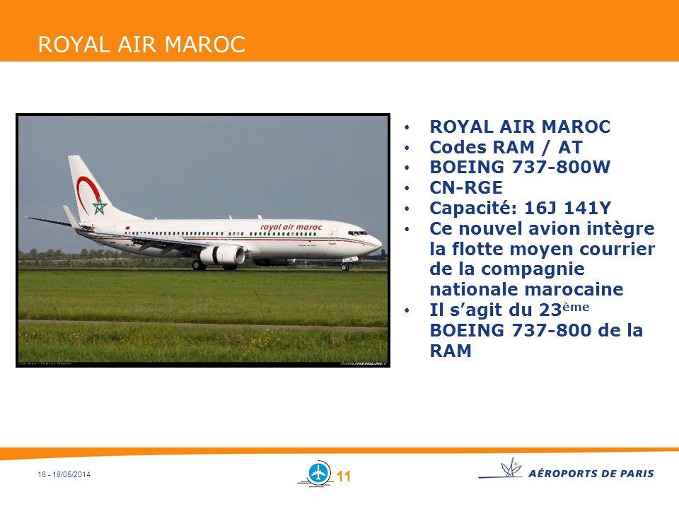 ROYAL AIR MAROC ROYAL AIR MAROC Codes RAM / AT BOEING 737-800W CN-RGE