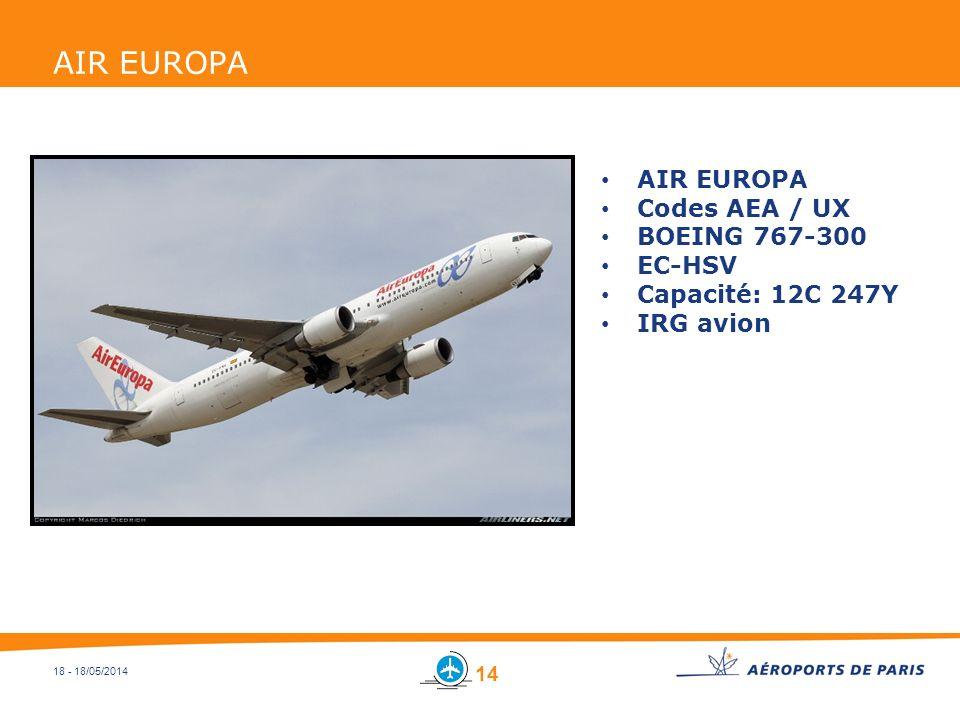 AIR EUROPA AIR EUROPA Codes AEA / UX BOEING 767-300 EC-HSV