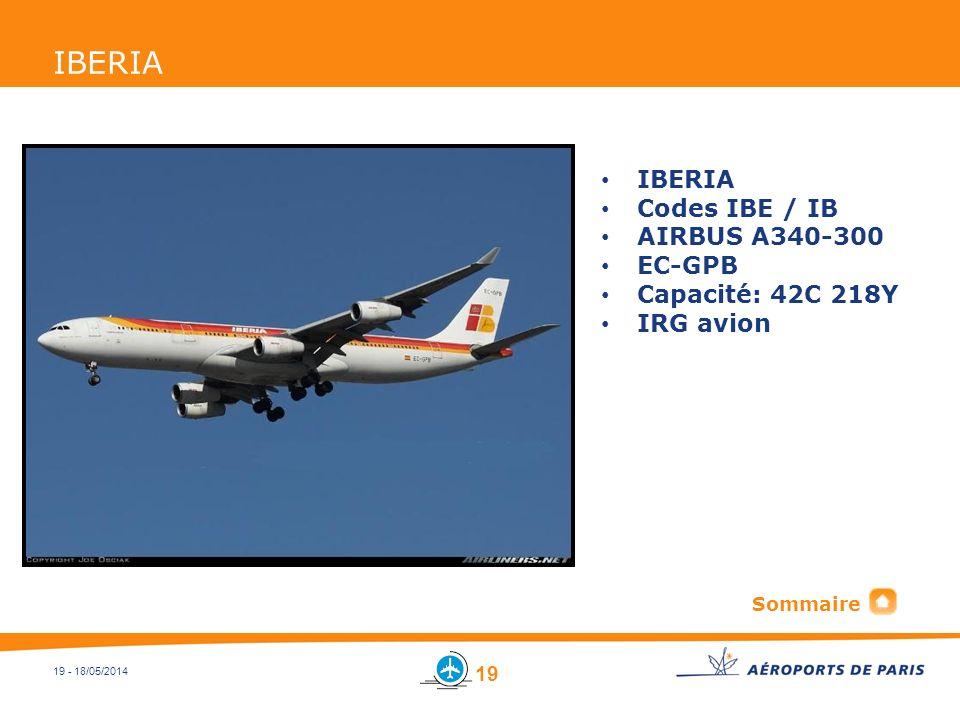 IBERIA IBERIA Codes IBE / IB AIRBUS A340-300 EC-GPB Capacité: 42C 218Y