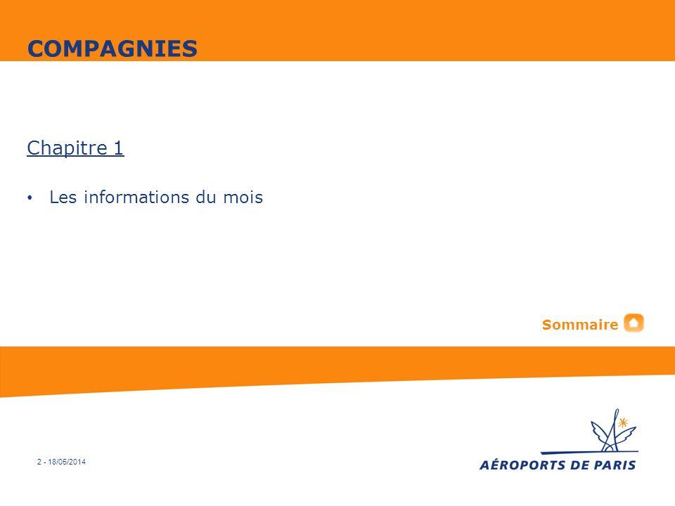 COMPAGNIES Chapitre 1 Les informations du mois Sommaire 2 - 31/03/2017