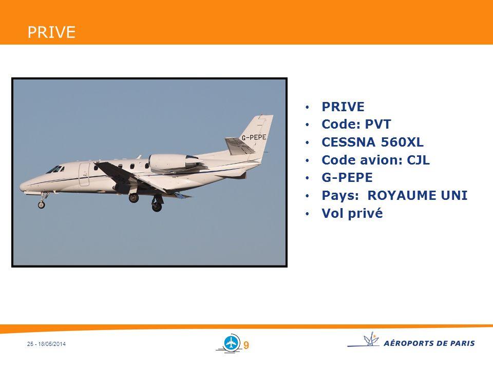 PRIVE PRIVE Code: PVT CESSNA 560XL Code avion: CJL G-PEPE