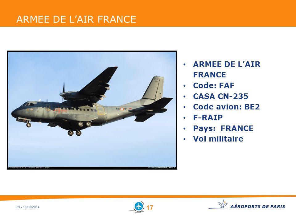 ARMEE DE L'AIR FRANCE ARMEE DE L'AIR FRANCE Code: FAF CASA CN-235
