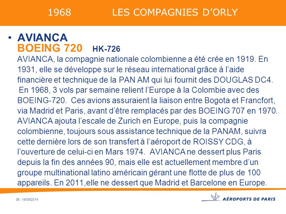 1968 LES COMPAGNIES D'ORLY AVIANCA.