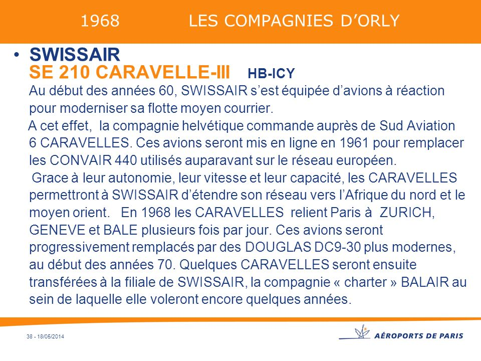 1968 LES COMPAGNIES D'ORLY SWISSAIR.