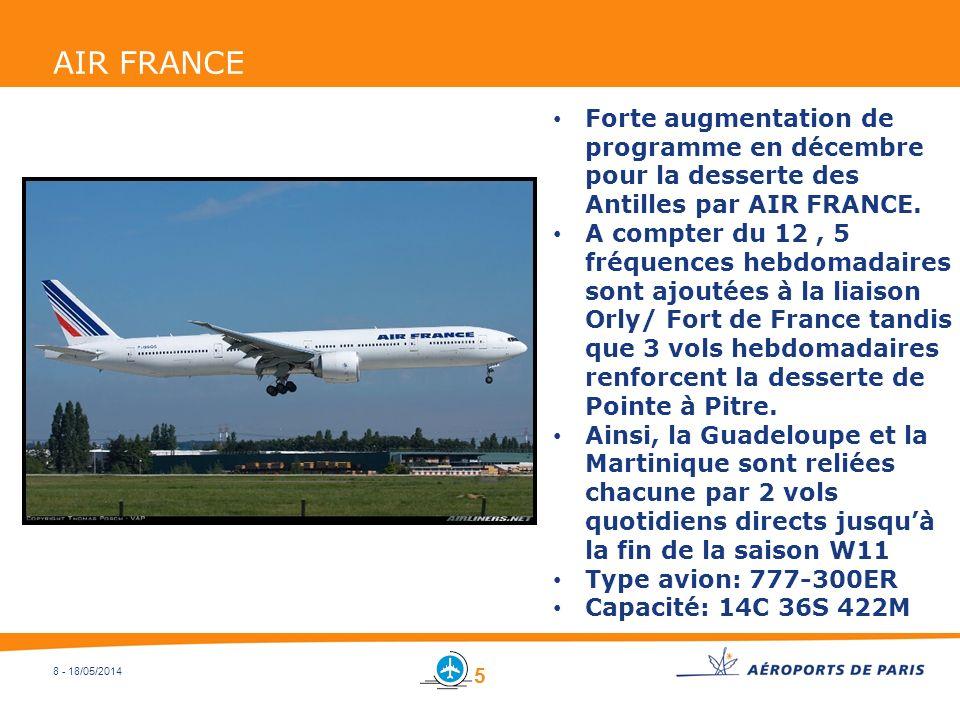 AIR FRANCE Forte augmentation de programme en décembre pour la desserte des Antilles par AIR FRANCE.
