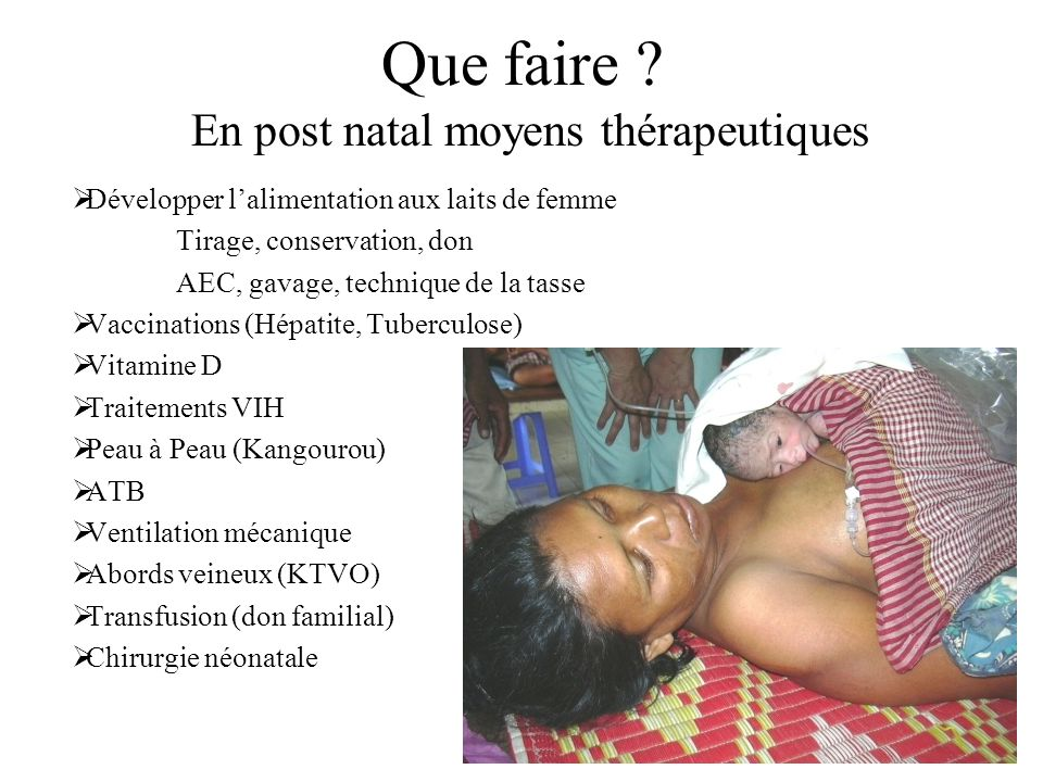 En post natal moyens thérapeutiques