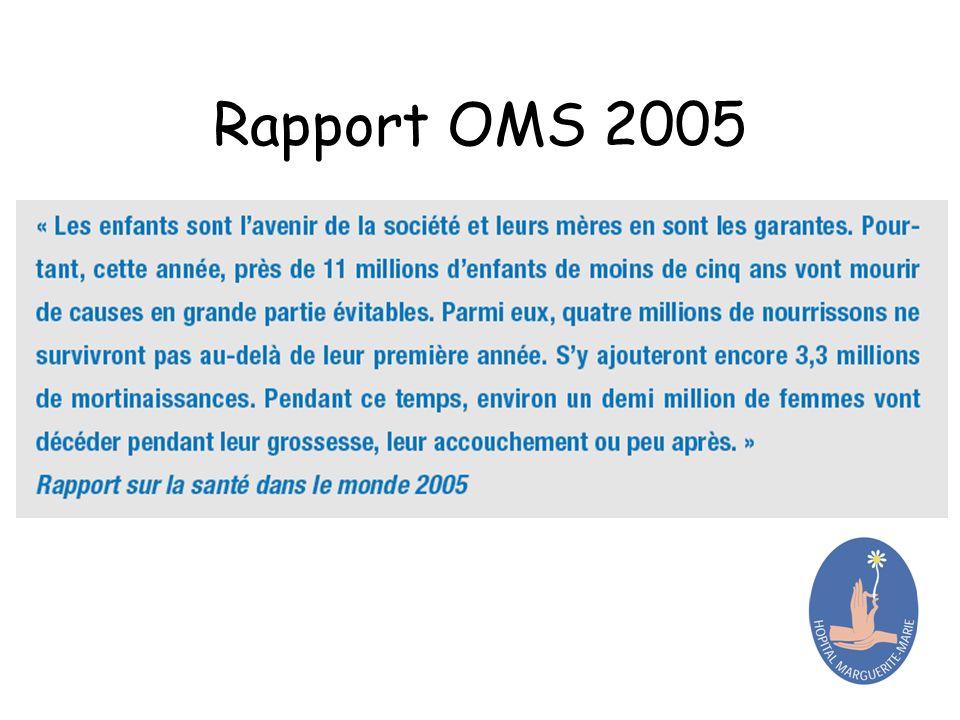 Rapport OMS 2005 En conclusion, nous citerons un extrait du rapport sur la santé dans le monde de 2005 :