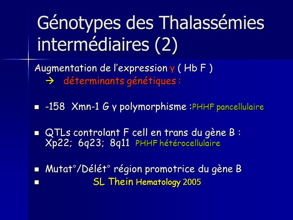 Génotypes des Thalassémies intermédiaires (2)