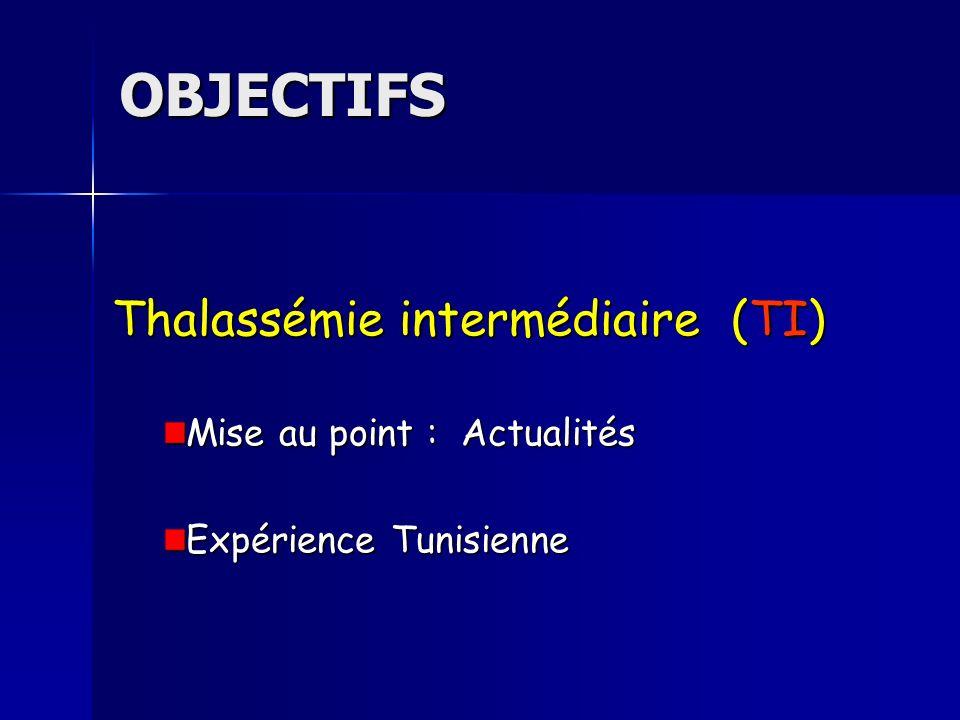 OBJECTIFS Thalassémie intermédiaire (TI) Mise au point : Actualités