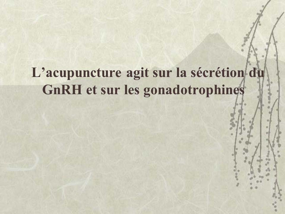 L'acupuncture agit sur la sécrétion du GnRH et sur les gonadotrophines