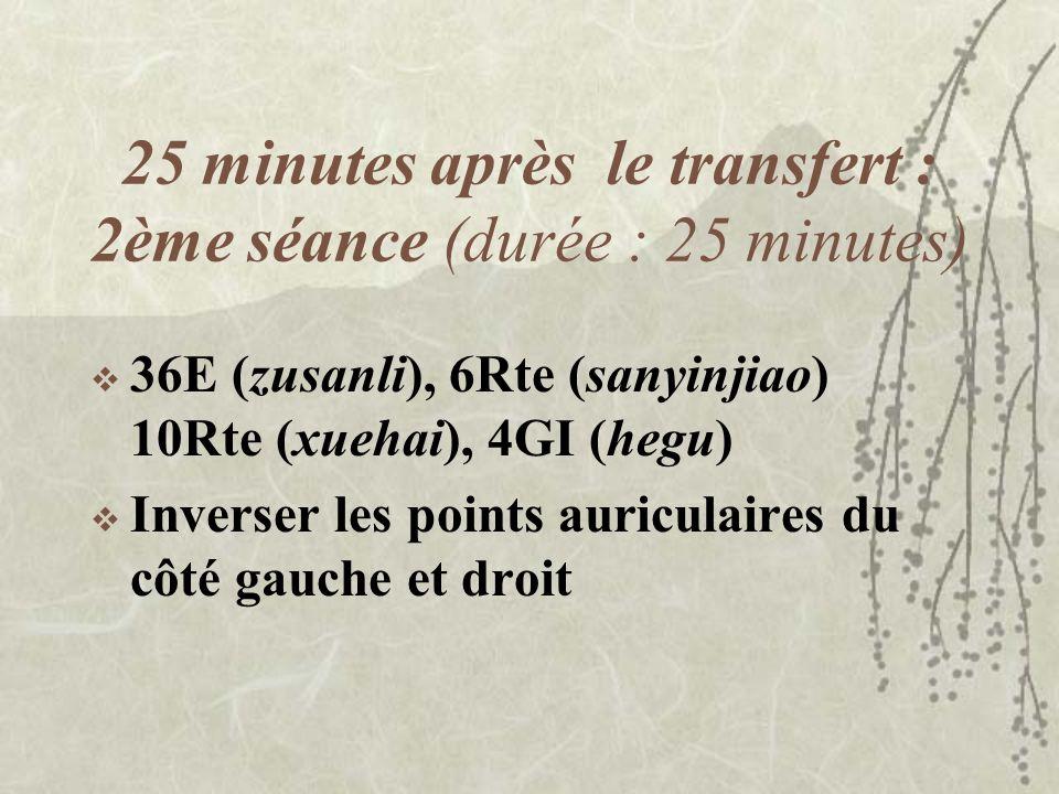 25 minutes après le transfert : 2ème séance (durée : 25 minutes)